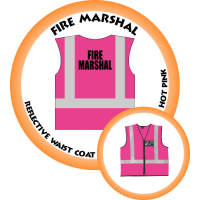 Branded Reflective Waist Coat - Hot Pink - Fire Marshal