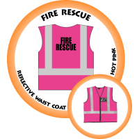 Branded Reflective Waist Coat - Hot Pink - Fire Rescue