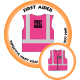 Branded Reflective Waist Coat - Hot Pink - First Aider