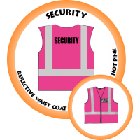 Branded Reflective Waist Coat - Hot Pink - Security