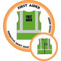 Branded Reflective Waist Coat - Lumo Green - First Aider