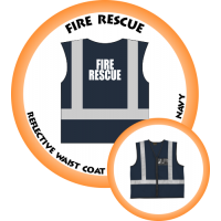 Branded Reflective Waist Coat - Navy - Fire Rescue