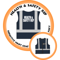 Branded Reflective Waist Coat - Navy - Health & Safety Rep