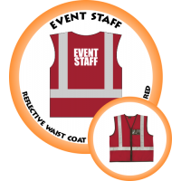Branded Reflective Waist Coat - Red - Event Staff