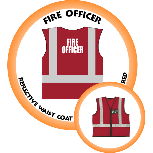 Branded Reflective Waist Coat - Red - Fire Officer