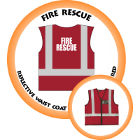Branded Reflective Waist Coat - Red - Fire Rescue
