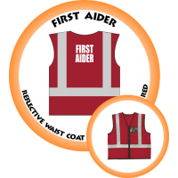Branded Reflective Waist Coat - Red - First Aider