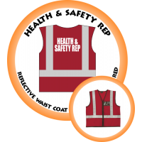 Branded Reflective Waist Coat - Red - Health & Safety Rep