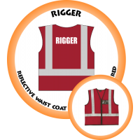 Branded Reflective Waist Coat - Red - Rigger