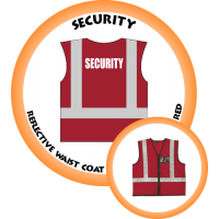 Branded Reflective Waist Coat - Red - Security