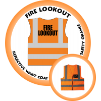 Branded Reflective Waist Coat - Safety Orange - Fire Lookout