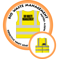 Branded Reflective Waist Coat - Safety Yellow (Lime) - Bio Waste Management