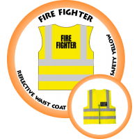Branded Reflective Waist Coat - Safety Yellow (Lime) - Fire Fighter
