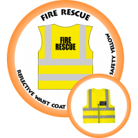 Branded Reflective Waist Coat - Safety Yellow (Lime) - Fire Rescue
