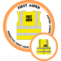 Branded Reflective Waist Coat - Safety Yellow (Lime) - First Aider