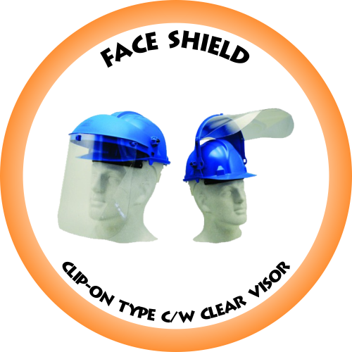 Face Shield Clip-On Type c/w 1mm Clear Visor