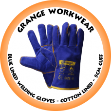 Blue Lined Welding Glove cotton Lined - 5cm Cuff