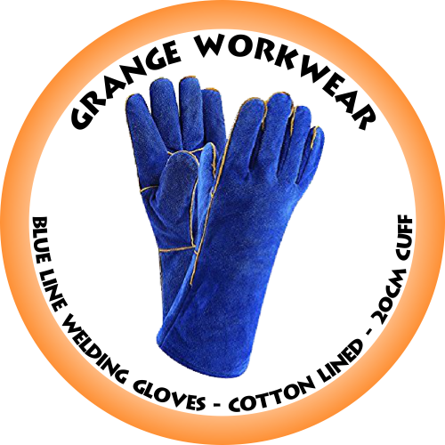 Blue Lined Welding Glove cotton Lined - 20cm Cuff