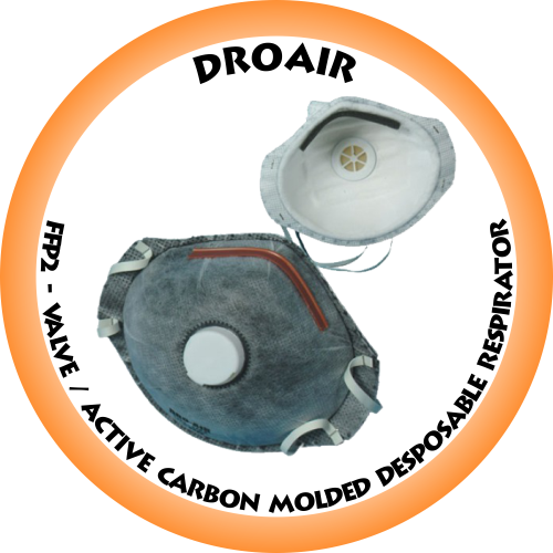 DroAir FFP2 Valve / Active Carbon Molded Disposable Respirator - 1121