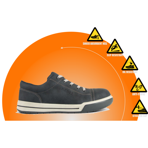 REBEL Lo Top Safety Shoe  - Charcoal - RE429CH
