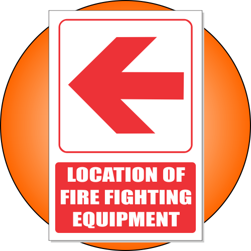 FB1EL - Location of Fire Fighting Equipment Left Explanatory Safety Sign