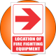 FB1ER - Location of Fire Fighting Equipment Right Explanatory Safety Sign