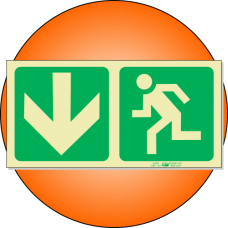 PLE3 - Escape Route Down Photoluminescent (Glow-In-The-Dark) Safety Sign