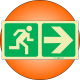 PLE1- Escape Route Right Photoluminescent (Glow-In-The-Dark) Safety Sign