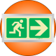 PLE1FD - Framed (Double Sided) Escape Route Right Photoluminescent (Glow-In-The-Dark) Safety Sign