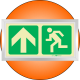 PLE10FS - Framed (Single Sided) Escape Route Up Photoluminescent (Glow-In-The-Dark) Safety Sign
