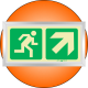PLE11FS - Framed (Single Sided) Escape Route Up Right Photoluminescent (Glow-In-The-Dark) Safety Sign