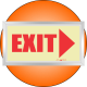 PLE4FD - Framed (Double Sided) Exit Right Photoluminescent (Glow-In-The-Dark) Safety Sign