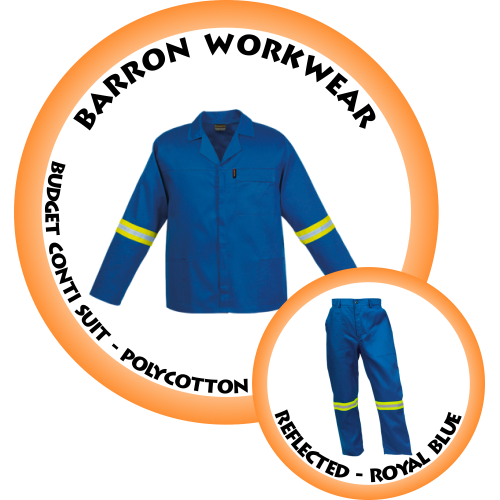 CS-BR BARRON Budget Conti Suit c/w Reflective tape - Polycotton - Royal Blue