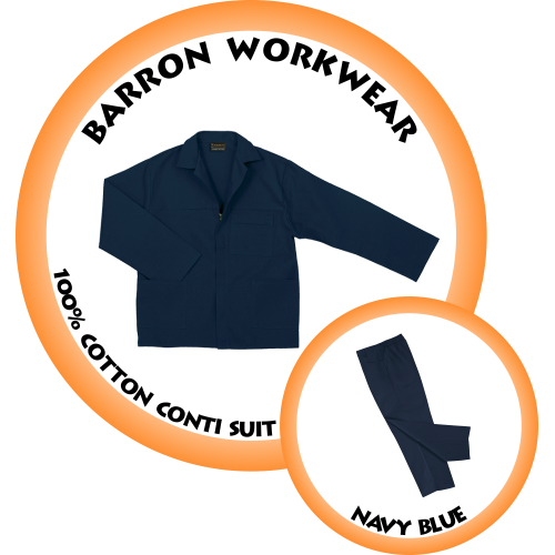 CS-BC BARRON 100% Cotton Conti Suit -  Navy Blue